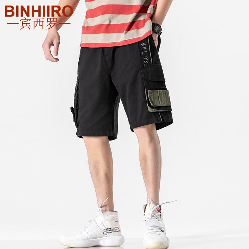 Pantalones cortos sueltos rectos de cinco puntos informales de Color liso con letras cosidas de alta calidad de verano para hombre HK20170
