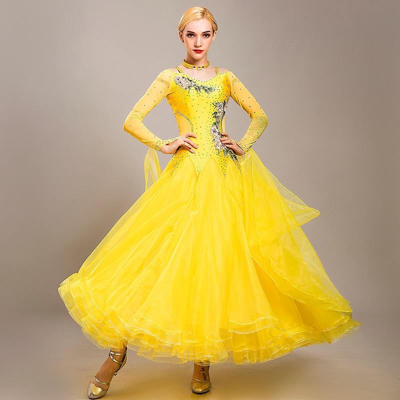 Salão de baile competição vestido feminino bola vestido padrão vestido de salão franja vestido de valsa rumba trajes de dança moderna