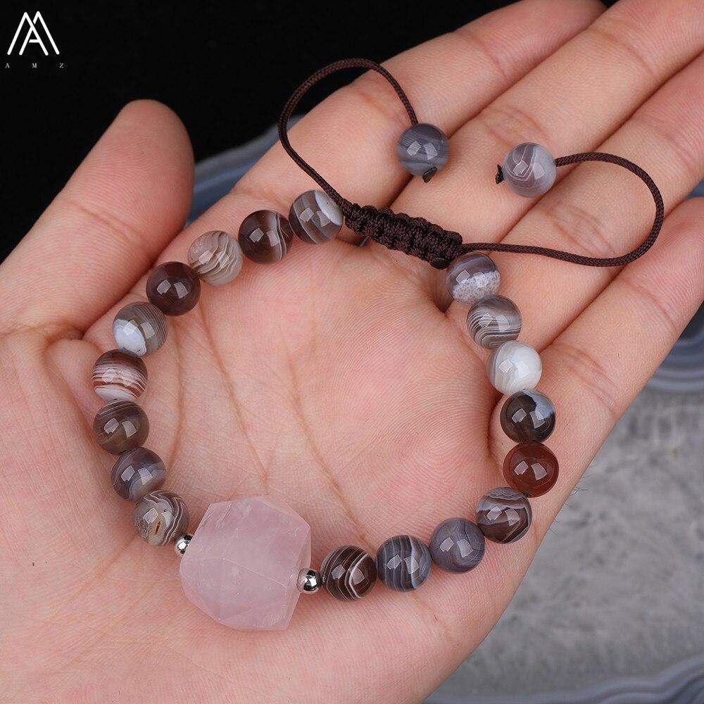 Doble Punto de cuarzo rosa 8mm natural de Botswana ágatas perlas cordón ajustable pulsera de la joyería de las mujeres N0226AMBB C