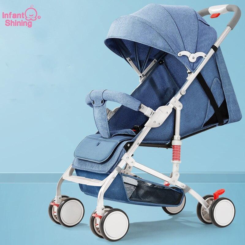 Infantil brilhante carrinho de bebê quatro rodas viagem carrinho de bebê carrinho de criança berço leve dobrável quente mãe strolle