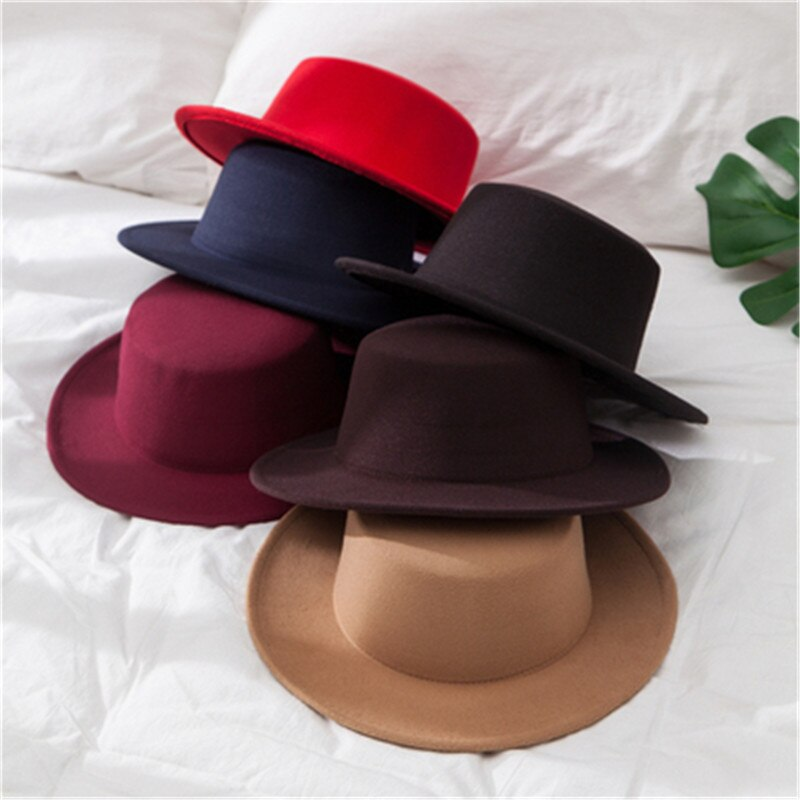 Classic Solid Color Winter Fedora Hat Women Men Artificial Wool Vintage Hats Jazz Wide Brim Church Dome Derby Top Flat Felt