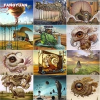 diamond painting abstract animals with oversized eyes clock and butterfly cross stitch kits diamond mosaic art paintings artwork