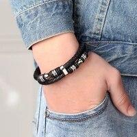 luxury accessories bracelet classic mens hand woven leather titanium steel bracelet lovers bracelet fashion jewelry