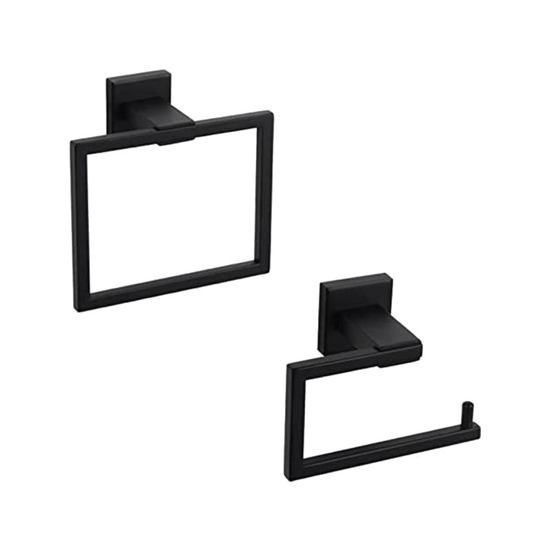 الحمام الأجهزة اكسسوارات مجموعات الفولاذ المقاوم للصدأ حمام دش مجموعة 2 قطعة (المرحاض ورقة حامل منشفة حلقة) ، الأسود ماتي