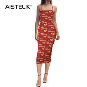 AISTELIK 2020 new explosion models European and American women's long sling print dress nightclub sexy dress women