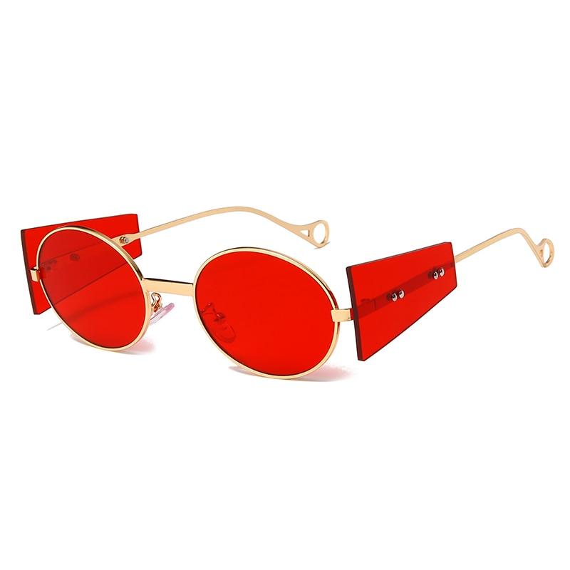 Fashion Steampunk Sunglasses Brand Design Men Women Metal Punk Sun glasses Vintage Round Shades UV400 Eyewear Gafas de Sol heisking clear red sunglasses men steampunk metal frame retro vintage round sun glasses for women black uv400 female eyewear