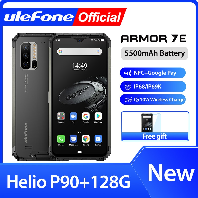 Ulefone armadura 7E resistente teléfono móvil Helio P90 + 128G Smartphone 2,4G/5G WiFi impermeable de IP68 mundial versión Android 9,0 NFC/48MP
