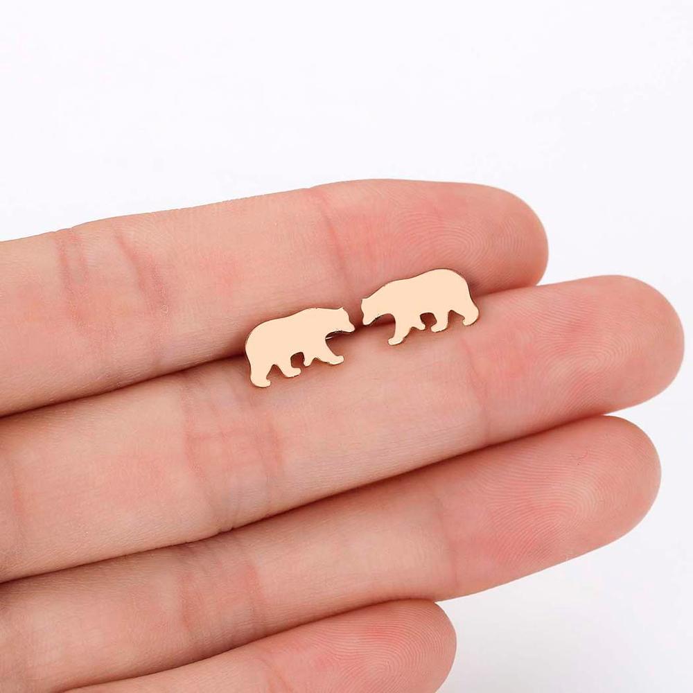 CHENGXUN Cute Polar Bear Stud Earrings for Women Girls Arctic Animal Charm Earrings Protect Environment Gift for Children