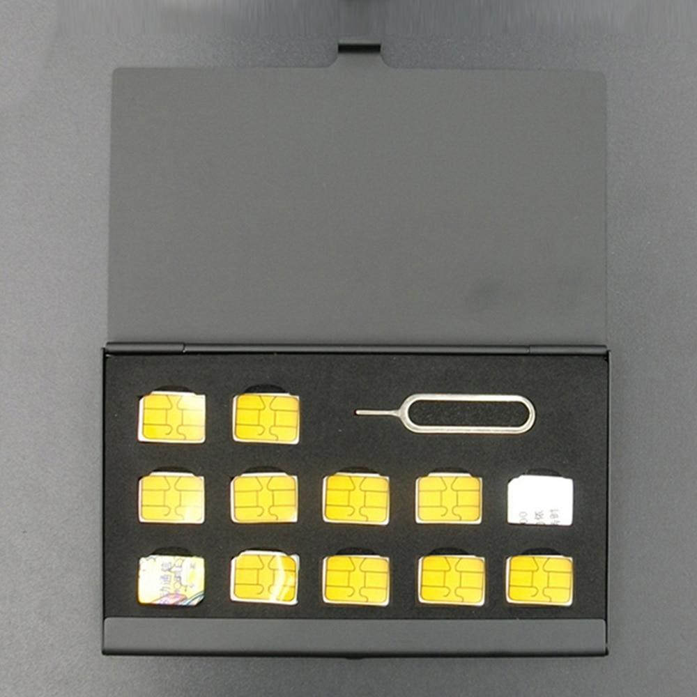 puluz card reader 22 in 1 waterproof memory sd card case storage box for 1standard sim 2micro sim 2nano sim 7sd 6tf 1card pin 12-Slots-NANO+1-Slot-Card-Pin Aluminum Portable SIM Micro Pin SIM Card Nano Memory Card Storage Box Case Protector Holder