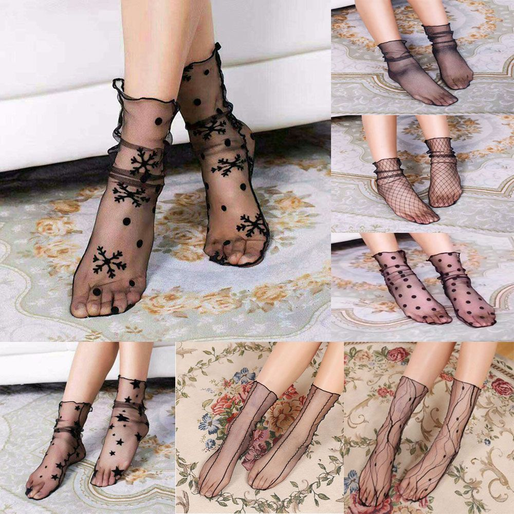 Women Transparent Ultrathin Sheer Mesh Ankle Hosiery Glitter Star Fishnet Socks