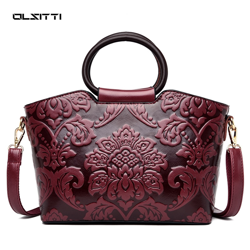 Fashion Chinese Wind Embossing Casual Women's Handbags High Quality Leather Matte Shoulders for Wome