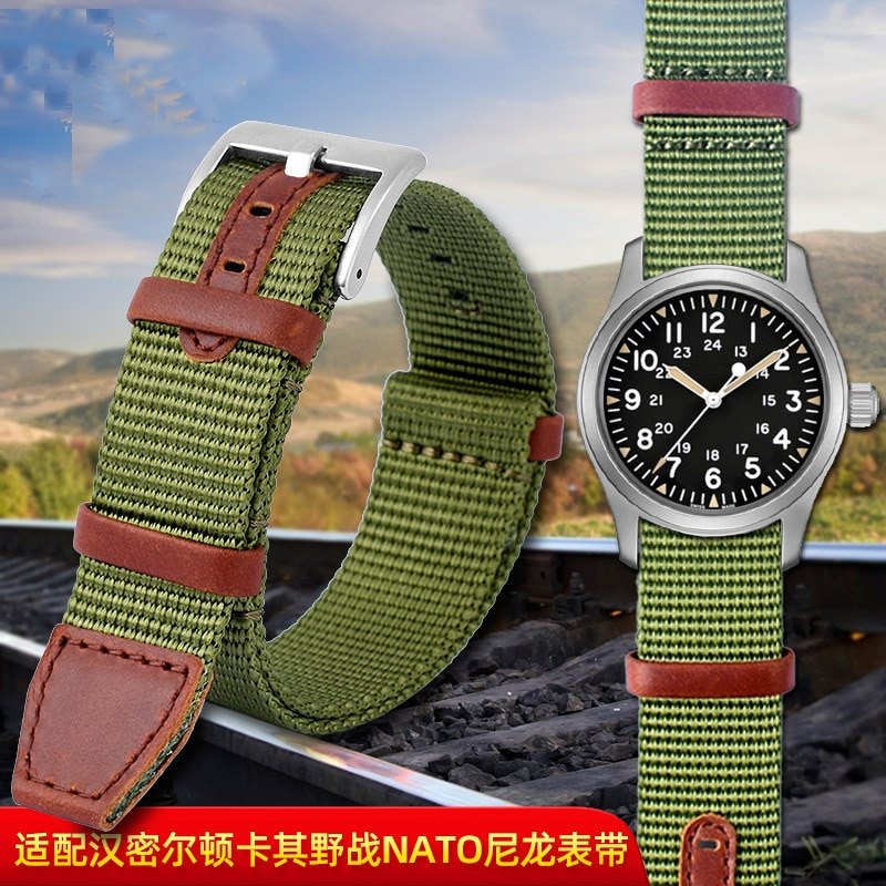 Nylon watch belt suitable for Hamilton watch with black army green card its field NATO hedgehog  Son