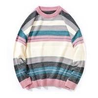 pink striped harajuku oversized sweater men 2021 autumn winter knitted sweater men couple streetwear knitwear pullovers male xxl