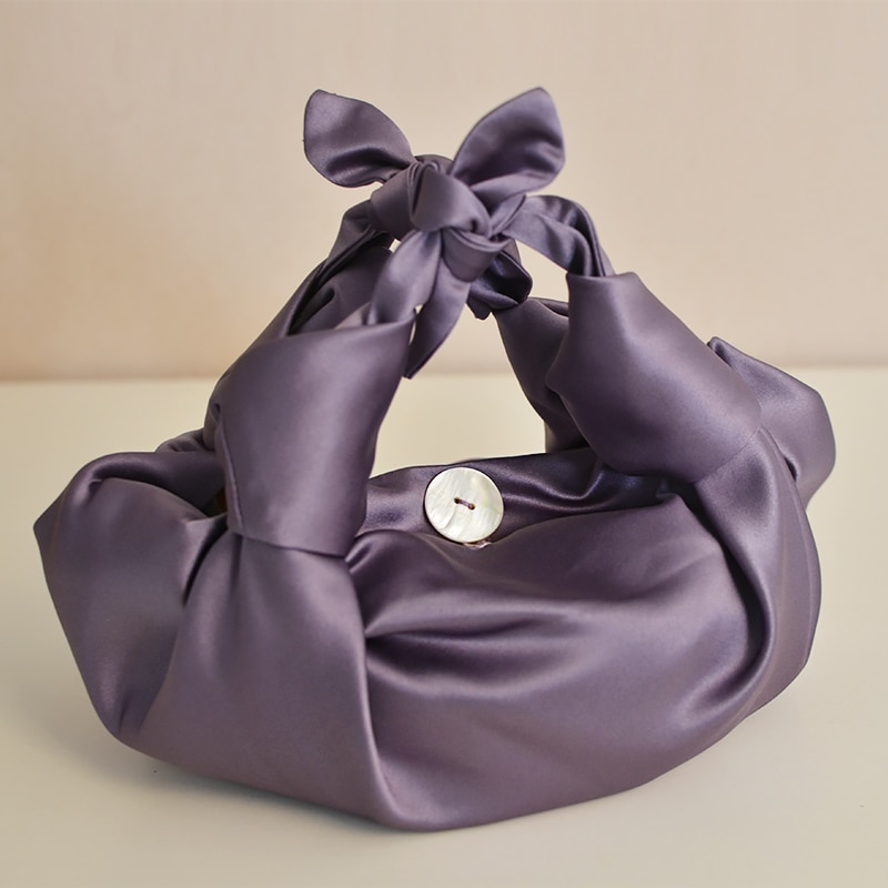 حقيبة يد نسائية من الساتان والحرير ، حقيبة يد مطوية على شكل زلابية ، حزام كتف من الجلد الناعم