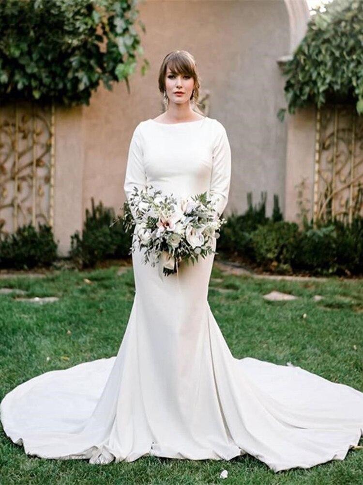 Vestido de boda de manga larga de diseño modesto de sirena blanca...