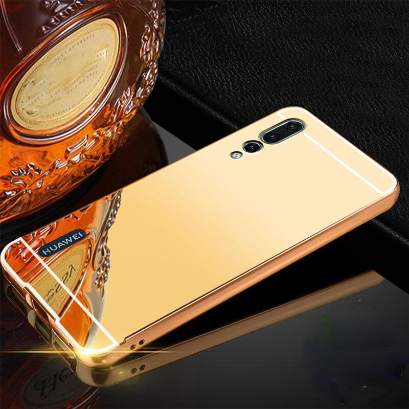 Para oppo a9 2020 caso espelho de alumínio metal amortecedor duro pc capa traseira para oppo ax7 a5s a5 a3 a3s a35 a83 a11x a5 2020 caso do telefone