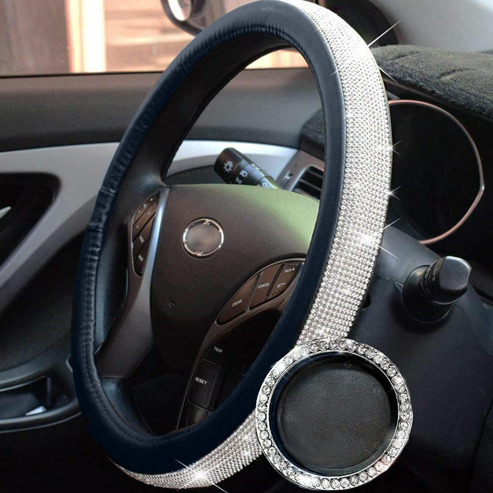 38CM Car Steering Wheel Covers Bling Crystal Rhinestone Auto Steering Wheel Covers Protectors For Women Girls Car Accessories