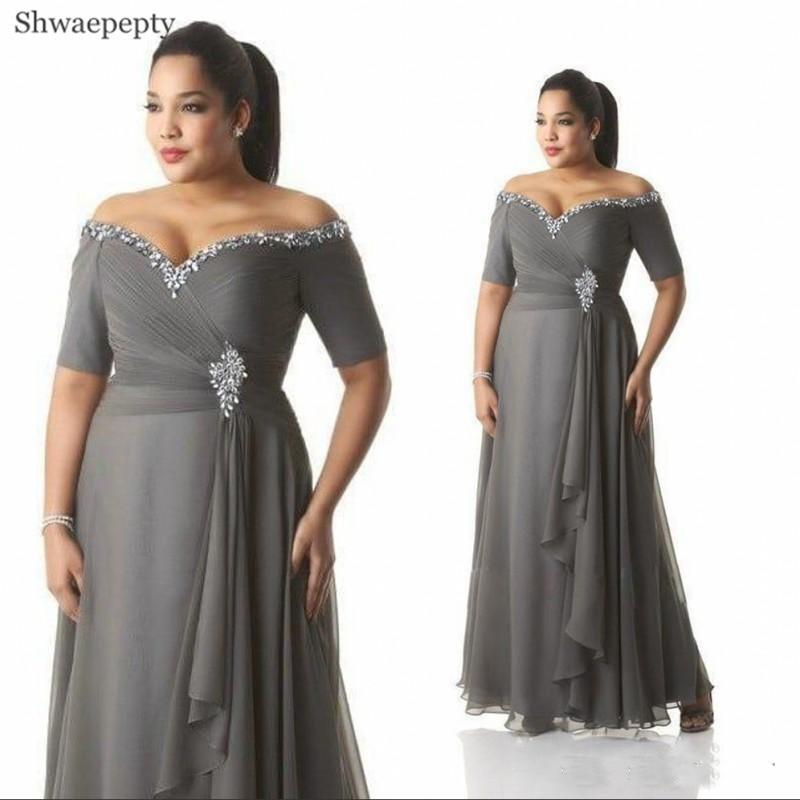 Shwaepepty-فستان سهرة شيفون رمادي ، قصة أرجوحة ، أكتاف عارية ، لؤلؤ ، أكمام قصيرة ، طول الأرض ، ملابس رسمية للنساء