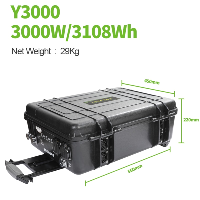 SUGINEO Pull Rod Box Portable Power Station 3000W Peak 6000W Backup Supply for Industrial outdoor work power station
