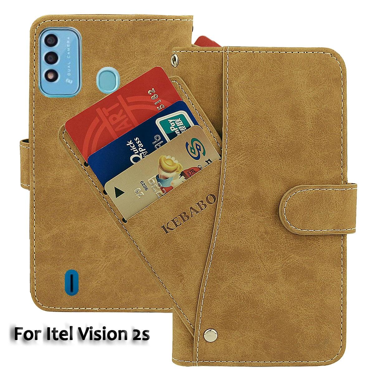 Vintage Leather Wallet Itel Vision 2s Case 6.52