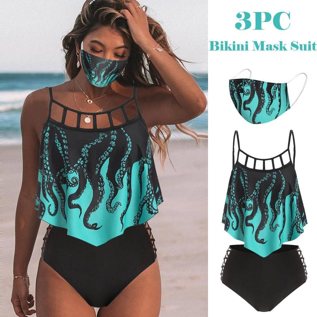 Bikini de realce de estilo Halter, traje de baño para mujer con volantes acolchados, conjunto de bikini de cintura alta de tres piezas, Bikini estampado de volantes con recubrimiento, 2020