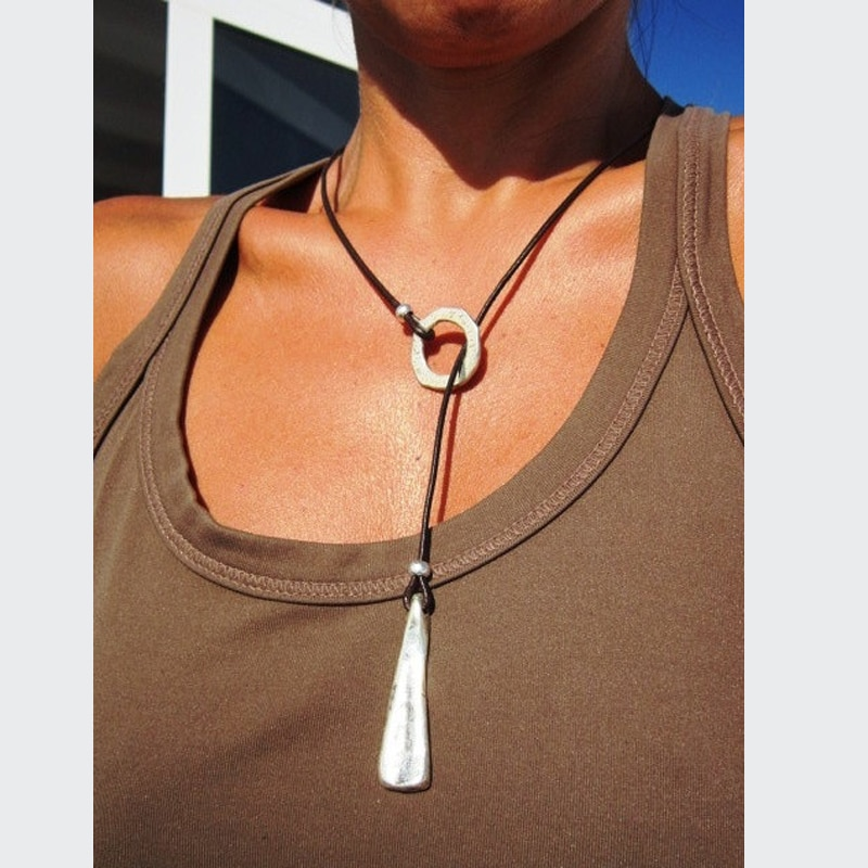 Círculo aleación terciopelo Lariat collar collares Eternity mujeres Boho joyería