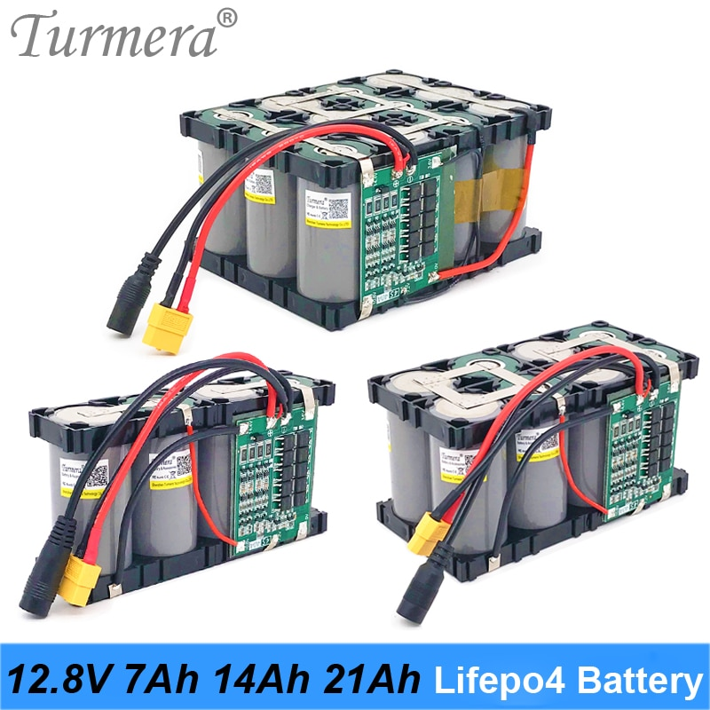 Turmera-بطارية Lifepo4 32700 V ، 12.8V ، 7ah ، 14ah ، 21Ah ، 4S ، 40a ، BMS ، متوازن للقارب الكهربائي وإمدادات الطاقة غير المنقطعة 12V