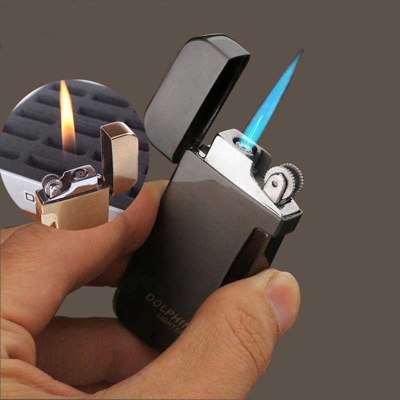 Encendedor de cigarrillos de doble fuego, mechero de Metal portátil creativo a prueba de viento para rueda, mechero de Gas, mecheros de butano para cigarros
