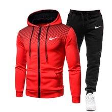 Men Casual Sets 2021 Spring Autumn IКNIKEС Jogger Tracksuit Zipper Hoodies Pants 2PC Sets Men's Sp