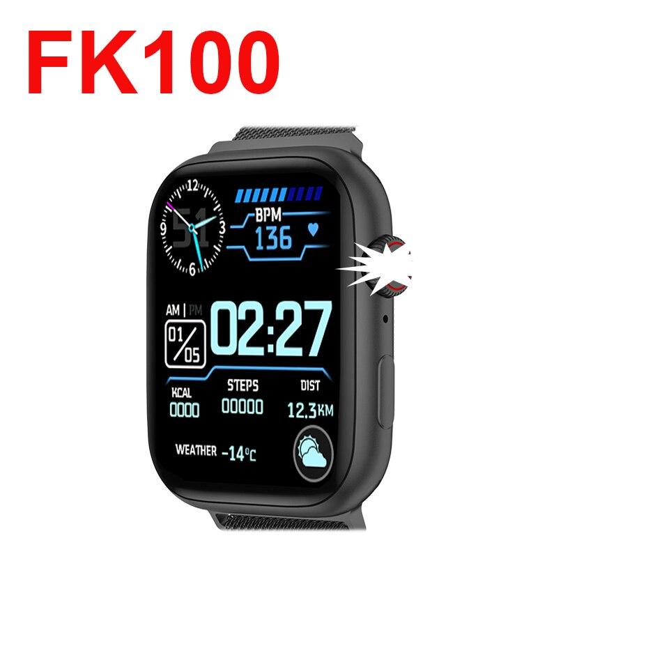 FK100 اللاسلكية شحن بلوتوث دعوة معدل ضربات القلب ساعة ذكية الرجال النساء لساعة أبل أفضل IWO13 برو FK99 W46 Smartwatch