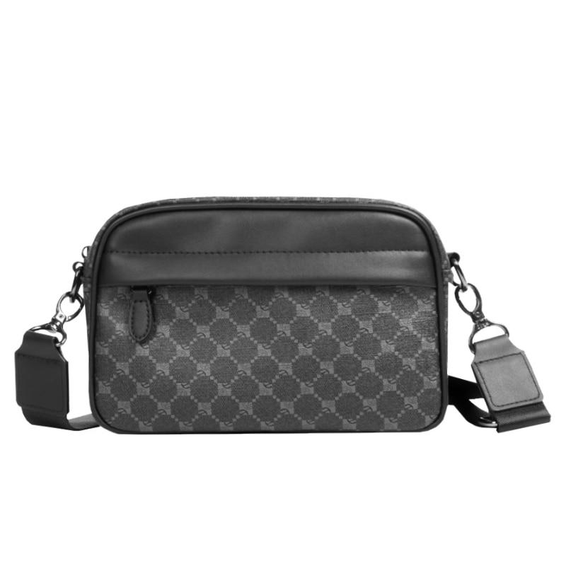 Fashion Black Crossbody Messenger Men Bag Versatile Plaid Men Shoulder Crossbody Bag For Male Classi