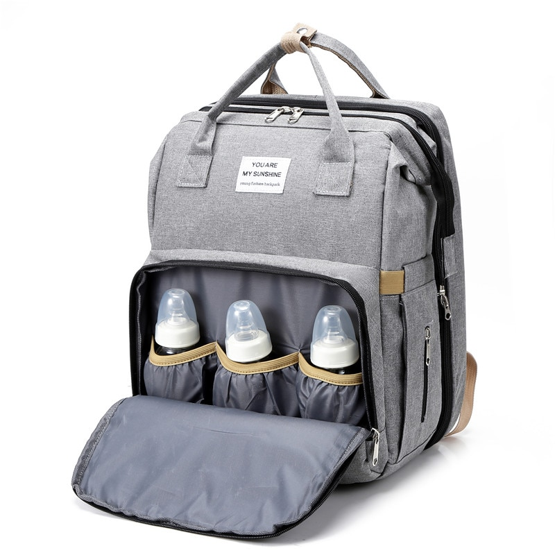 Baby Diaper Bag Large Capacity Mommy Bag Outdoor Portable Folding Bed for Baby Stroller Cart Pram