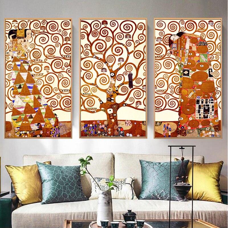 Самоотверженно 3 панели/Набор Холст Картина Gustav Климт Древо жизни настенные картины для гостиной настенные художественные печатные плакат...