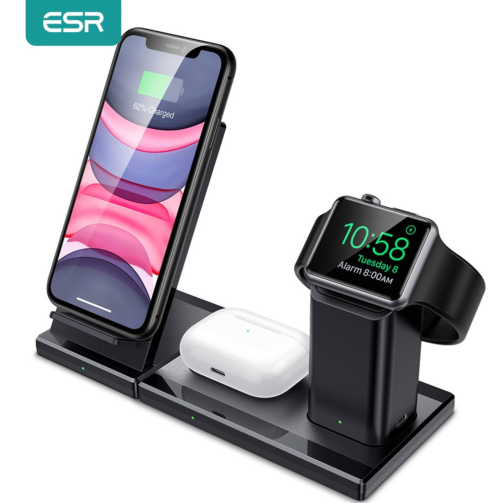 ESR 3 en 1 Qi soporte de cargador inalámbrico para iPhone SE 2020 11 Pro X XS XR 8 para AirPods Pro Apple Watch cargador inalámbrico rápido 10W
