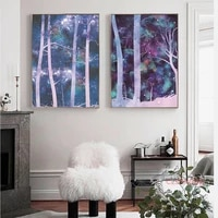 creative starry sky landscape canvas painting abstract forest nordic posters and prints modern home decoration wall art pictures