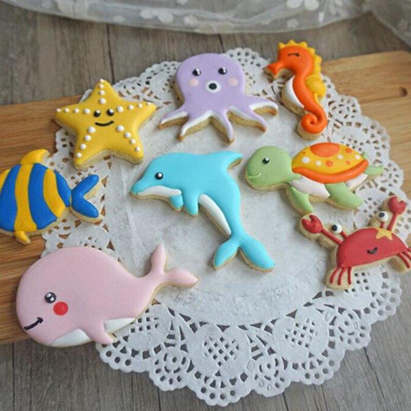 Moule à biscuits en plastique, thème océanique, bricolage, moule pâtisserie, Fondant, outils de décoration de gâteaux, 8 pièces/paquet