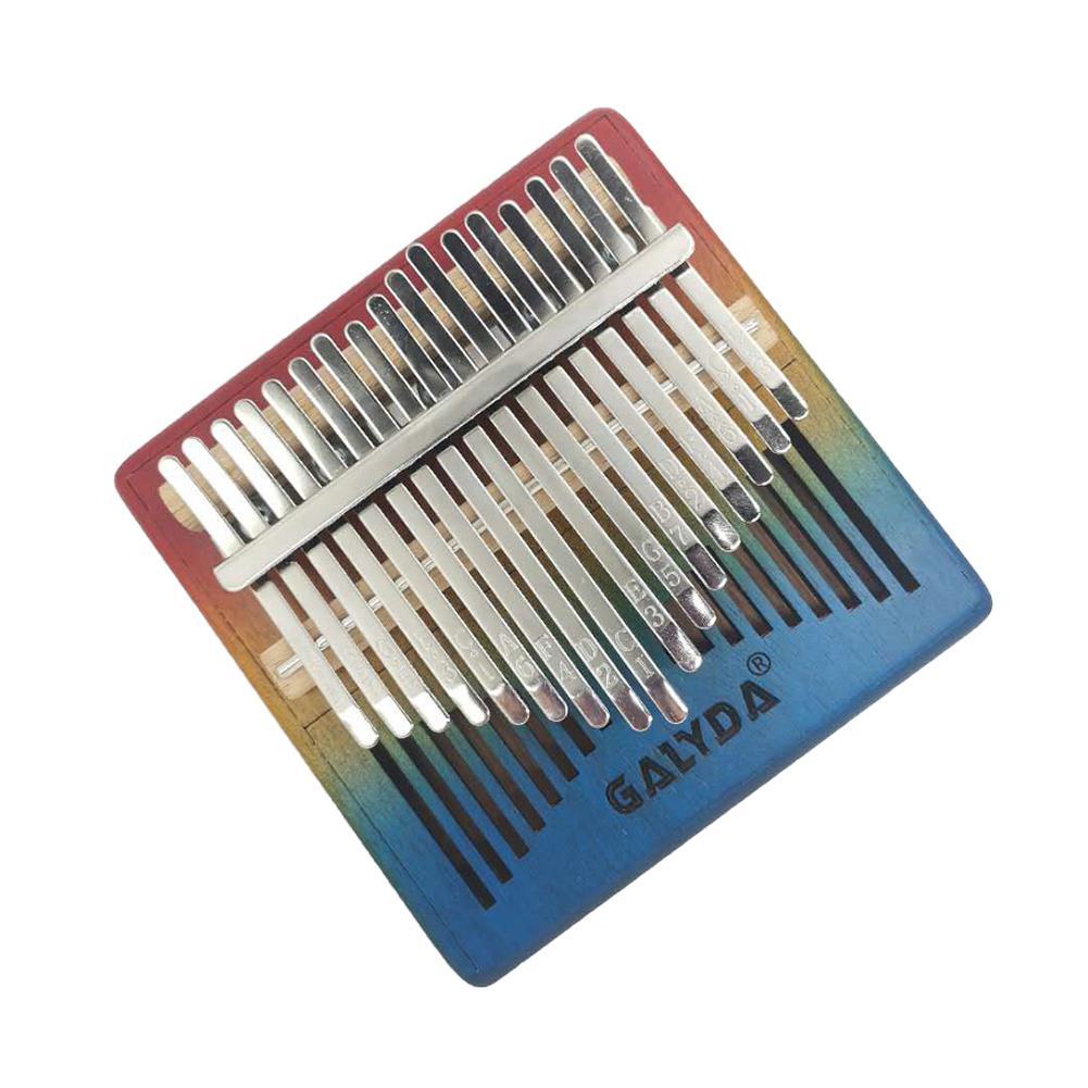 Gradual Rainbow Color Kalimba 17 Key Mahogany Wooden Body Thumb Piano Mbira Calimba Musical Instrument with Tuning Hammer enlarge