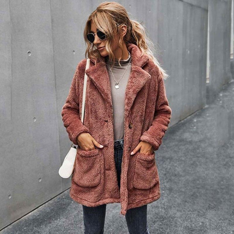Autumn Faux Fur Coat Women Teddy Ladies Fluffy Winter Long Sleeve Plush Warm Jacket Female