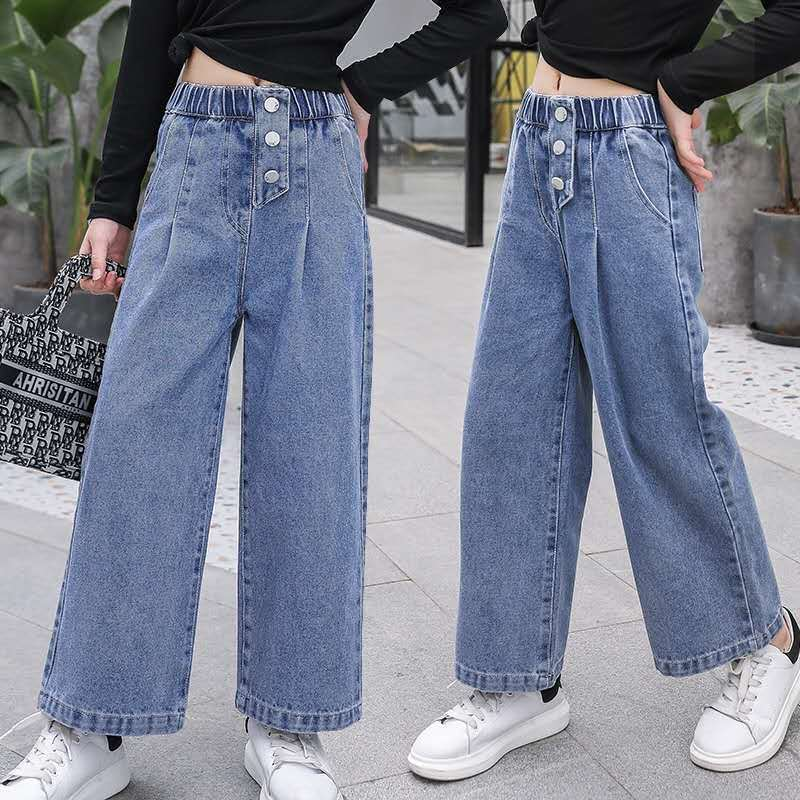 Джинсы для девочек Новинка 2021 года, весенние свободные прямые широкие штаны модные детские штаны с бахромой, джинсы для девочек, одежда для детей 10, 12, 13, 14 лет Джинсы    АлиЭкспресс