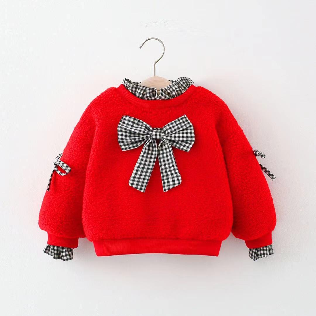 New Sale Infantis bow children Girl kid baby 0-3year top coat  Clothes sweatshirt Winter Lovely warm
