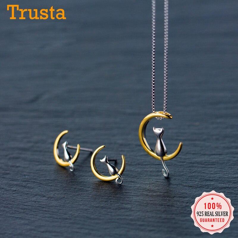 Trustdavis, Nueva joyería de plata de ley 925 a la moda para mujer, pendiente de tuerca con forma de gato y Luna, Collar corto con pendiente, regalo para niñas DS186