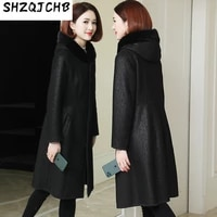 shzq 2021 autumn and winter new leather clothes womens middle and long wool one piece hooded fur coat jacket slim fit