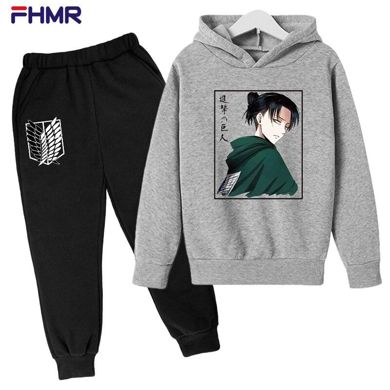 3-14 Years Kids Hoodie Attack on Titan Cartoon Anime Printed Hoodies Sweatshirt Boys Girls Uzumaki Jacket Children Clothes Suit