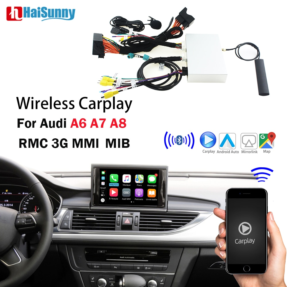 Carplay مع نظام ملاحة لاسلكي ، متوافق مع IOS ، Android ، mirrorlink ، عكس الهواء ، لأودي A6 C6 C7 RMC A7 A8 D3 D4 MMI 3G