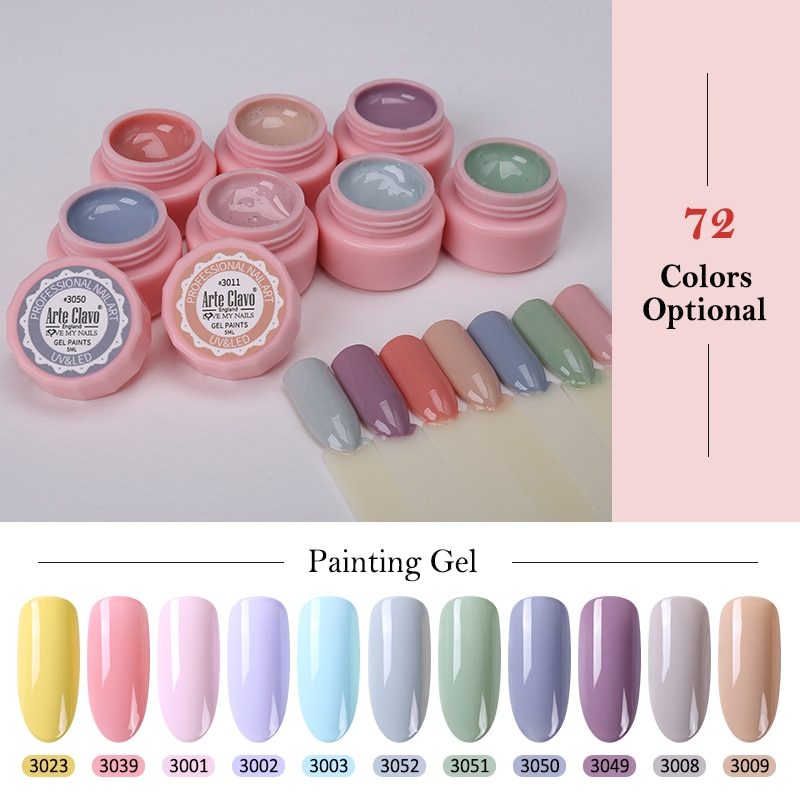 Arte Clavo 5ml Tinta Gel de Cor UV Gel Nail Polish Soak Off Prego Laca Nail Art Cores Glitter Prego Rainbow 72 Pintura Gel