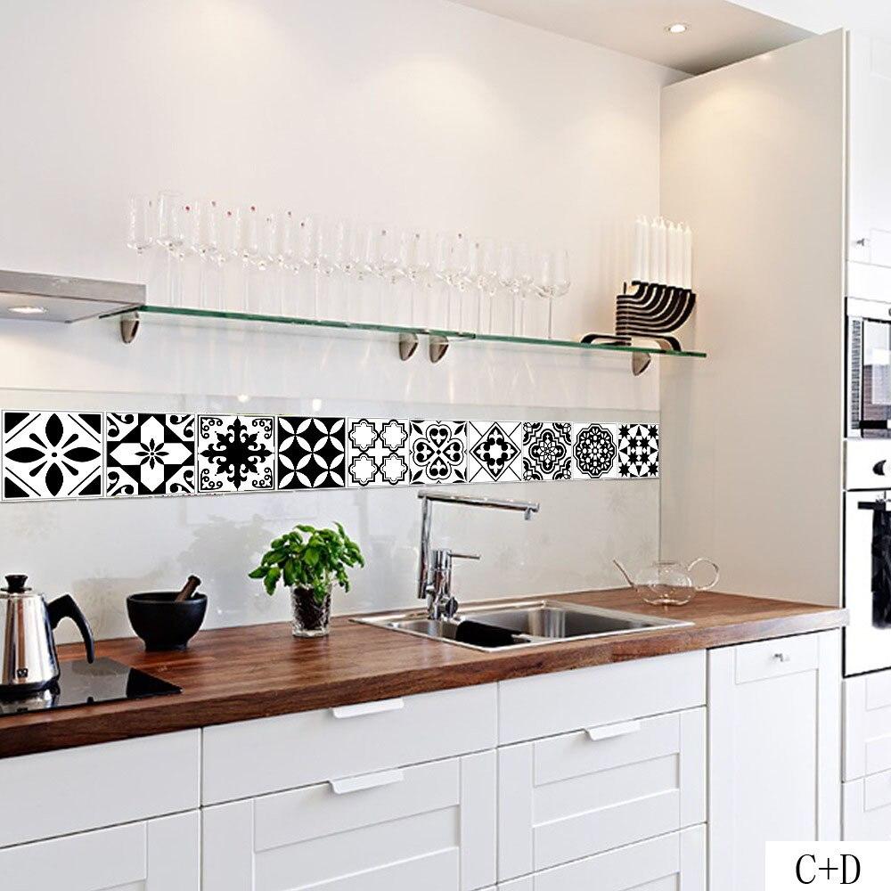 2020 DIY pegatinas negras de pared autoadhesivas blancas pegatinas de pared Anti aceite azulejos impermeables decoración de pared de baño de cocina arte