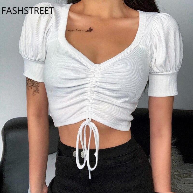 Fashstreet sexy v neck drawstring arco magro colheita superior 2020 verão mulheres casual sólido manga curta t camisa feminina streetwear topos
