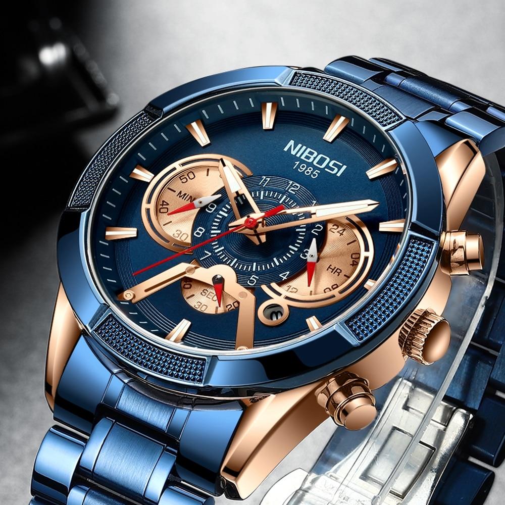 Nibosi 2020 nova chegada dos homens assista topo de luxo marca esporte relógios cronógrafo quartzo relógio de pulso data masculino relogio masculino