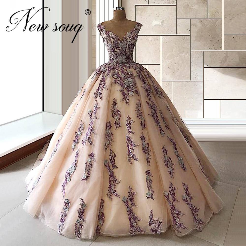 Beading Purple Pageant Gowns Puffy Ball Gown Beading Evening Dresses For Arabic Dubai 2020 Islamic Custom made Long Train Dress