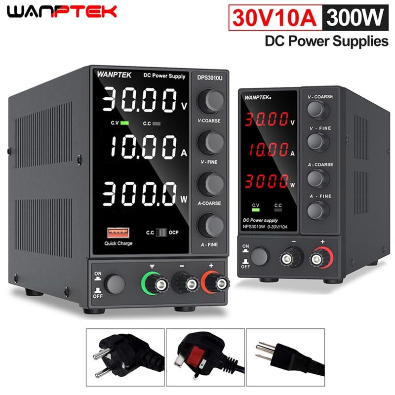 Wanptek-مصدر طاقة للمختبر ، قابل للتعديل عبر USB ، 30 فولت 10 أمبير ، منظم جهد 60 فولت 5 أمبير ، مثبت ، تحويل التيار الكهربائي